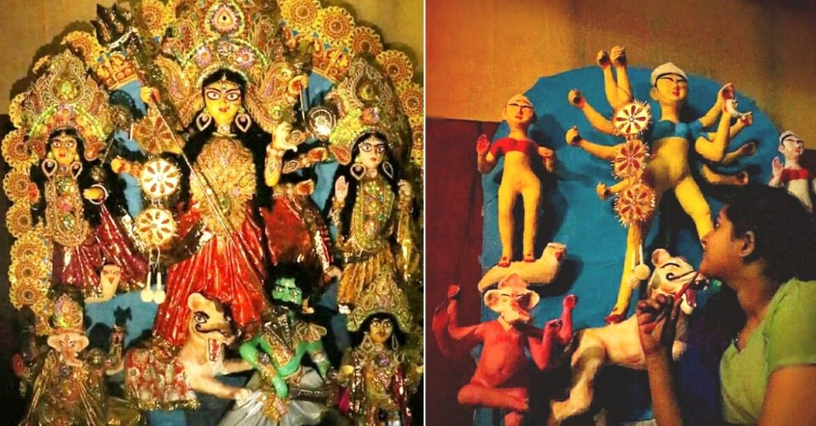 15-Yr-Old Kolkata Student Sculpts Durga Idol On Her Own, Earns Accolades
